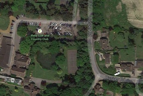 Sattelite view of Rusper Road near Ifield Golf Club- where body was found in burnt out car. Image: Google Satellite.