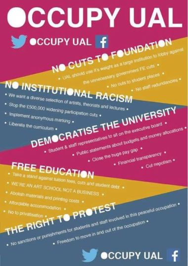 UAL Occupation demands. Image: OccupyUAL Facebook page