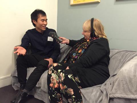 Goldsmiths MA Radio winner Weidong Lin being  interviewed by Charles Parker's daughter Sara who's making a programme for BBC Radio 4 Extra. Image: @JaySykesMedia