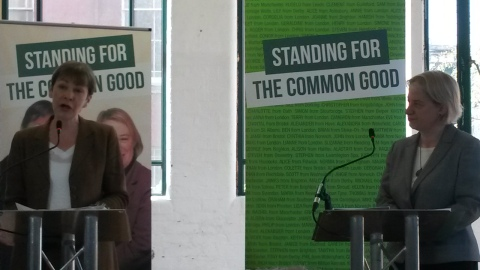 MP for Brighton & Hove Caroline Lucas and party leader Natalie Bennett speaking at the 2015 Green Party Manifesto Launch. Image: Emily Browne