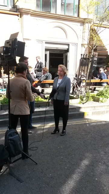 Natalie Bennett talking to the media this morning in East London. Image: Emily Browne