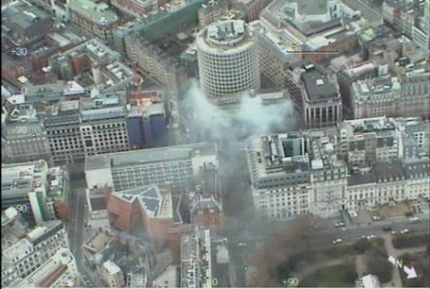 Height of fumes caused by Kingsway fire. Captured by helicopter camera. Image: @NPAS_Redhill
