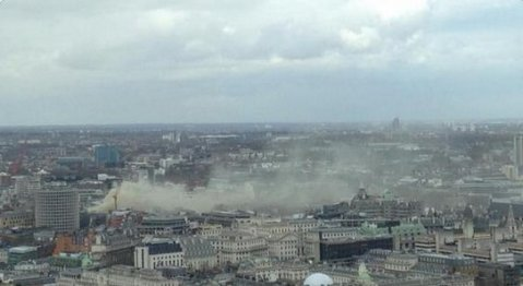 Aerial view of Kingsway and Holborn fire by ITV News. It could be seen from the London Eye and Shard. Image: @ITV News
