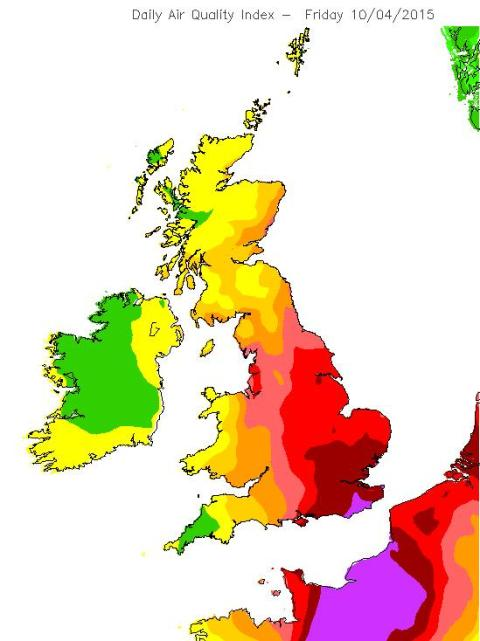 DEFRA forecast air pollution map issued yesterday. Darker reds indicate higher levels of pollution expected. Image: DEFRA