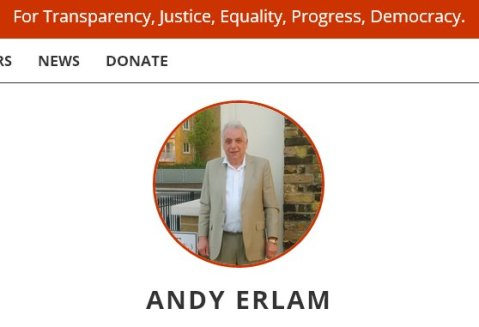 Andy Erlam after mounting the successful legal challenge toppling Tower Hamlets' Mayor, he plans to fight the new election. Image: http://redflagac.org/founders-bio.php