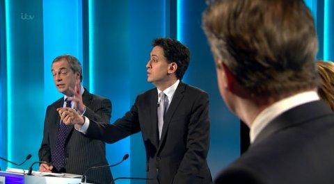 Argument between Nigel Farage, Ed Miliband, and David Cameron. Image: ITV