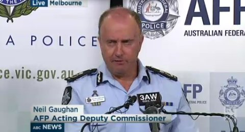 Australian Federal Police announce counter-terrorism arrests and nature of their inquiry into ISIS-inspired plot to attack ANZAC events. Image: ABC. Click through to report.