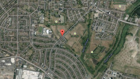 Appeal for witnesses after 22 year old motorcyclist dies in collision with car on Ballards Road, Dagenham, Good Friday. Image: Google Satellite.
