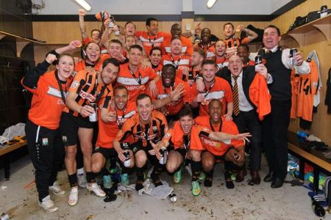 Barnet dressing room celebrations. Image: @BarnetFC @BarnetFCPics
