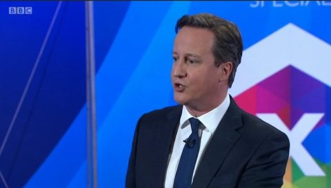 David Cameron of the Conservative Party. Screen capture from BBC coverage.