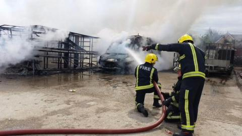 35 firefighters were called to the blaze in West Drayton. It was under control by the afternoon. Image: @LondonFire