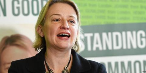 Natalie Bennett speaking at The Green Party Manifesto Launch. Image: @TheGreenParty