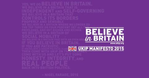 "UKIP's Believe In Britain slogan. Image"" @UKIP"