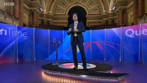 Nick Clegg of the Liberal Democrats. Screen capture from BBC coverage.