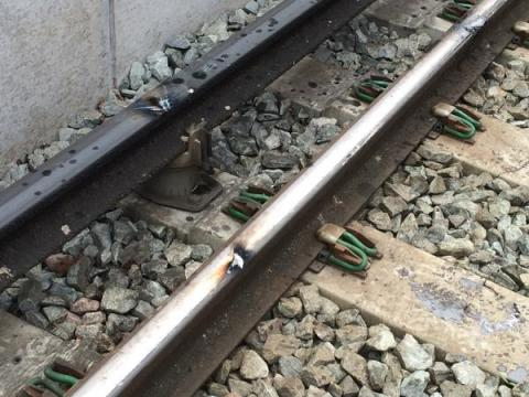 Damage to the tracks caused by the 'grabber' of the lorry's cherry picker in this morning's rail bridge collision. Image: @LFB