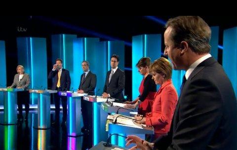 Tory Leader David Cameron speaking in debate. Image: ITV