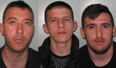 (Left to right) Lutfi Muja (aged 28), Urim Bardhoshi (20) and Egzon Qarri (21) Image: NCA