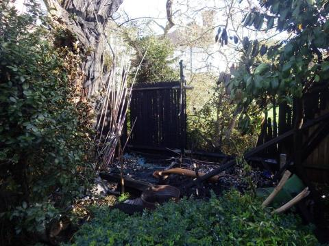 Fire damage caused by an unsupervised garden bonfire in Richmond.