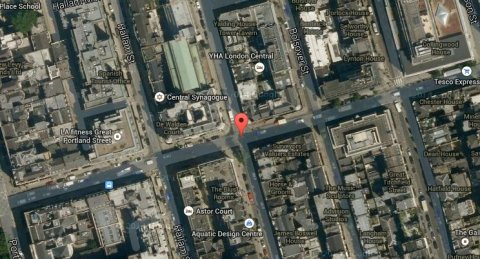 Great Portland Street, central London. Image: Google Satellite.