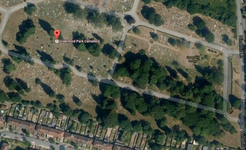 Greenford Cemetery Park. Image: Google Satellite.