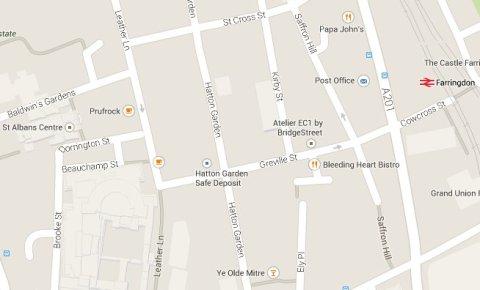 Hatton Garden Safe Deposit Ltd, Hatton Garden. Image: Google Maps