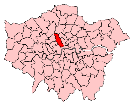 Map of the UK Parliament constituency of Holborn and St Pancras. Image: Wikimedia, public domain.