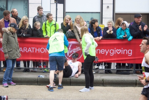 A moment of agony - eventually overcome as the runner continued on his way. Pic: Katie Rogers