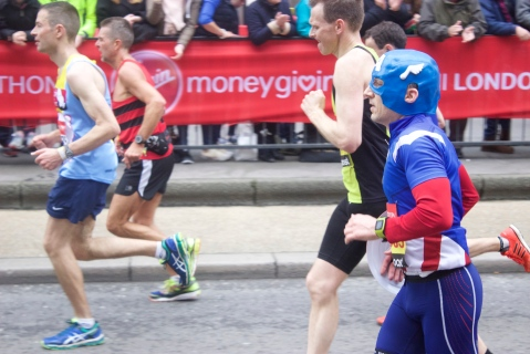 Displays of superhero-like feats at the London Marathon today. Pic: Katie Rogers