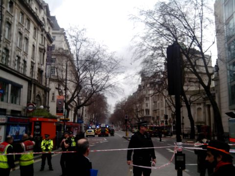 Police and the London Fire Brigade have worked at the scene for more than 24 hours. Image: Marta Malagon