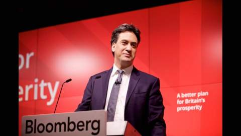 Ed Miliband launches the Labour Party manifesto in Manchester. image: @Ed_Miliband