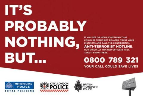 It's Probably Nothing But... Poster. Image: Met Police, City of London Police and British Transport Police