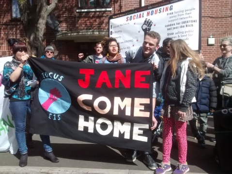 Jane Come Home campaign against eviction in Newham. Image: @Focus15