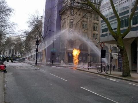 London Fire Brigade still fighting underground tunnel blaze in Kingsway. Image: @LFB