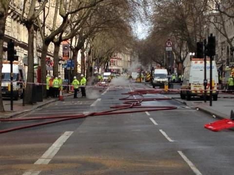Kingsway still closed, covered in fire hoses as the underground blaze still generating smoke and fumes. Image:@LFB