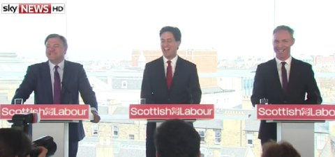 Labour sends its big guns to Edinburgh. Shadow Chancellor Ed Balls, Leader Ed Miliband and Scottish Labour leader Jim Murphy. Image: Sky News.