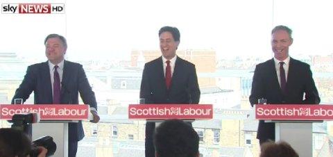 Labour sends its big guns to Edinburgh. Shadow Chancellor Ed Balls, Leader Ed Miliband and Scottish Labour leader Jim Murphy. Image: Sky News.