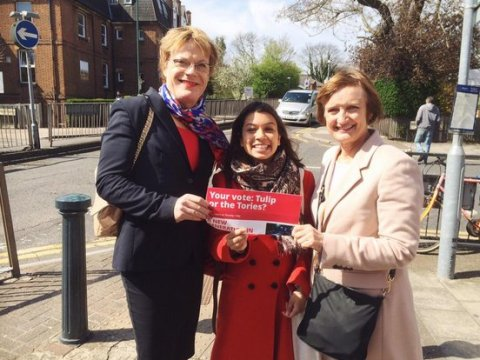 Tulip Siddiq- Labour's candidate for Kilburn and Hampstead with Eddie Izzard and Tessa Jowell. Image@TessaJowell