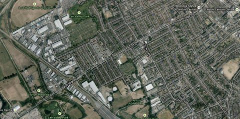 Lea Bridge Road, Leyton. Image: Google Satellite