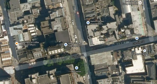 88-90 Hatton Garden- aerial view of site of multi-million pound burglary. Thieves entered by door in Greville Street. Image: Google Satellite