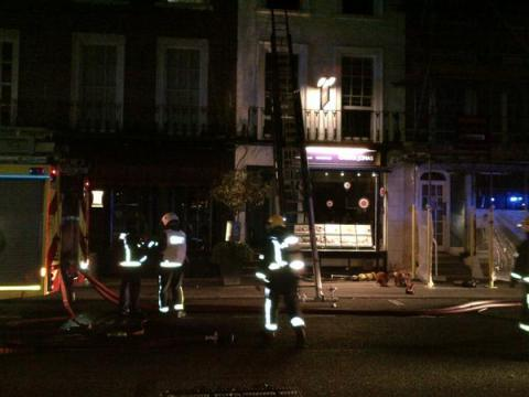 London Fire Brigade's longest ladder to rescue man from fire in Beachamp Place, Knightsbridge. Image: @LondonFire