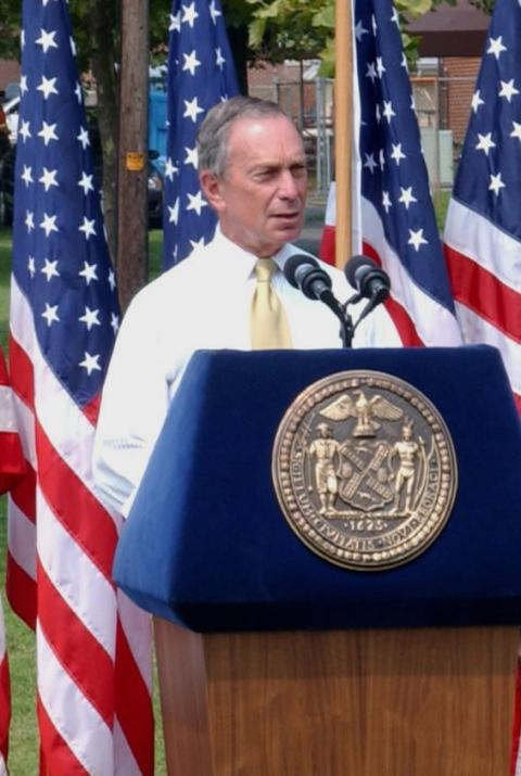 Three times Mayor of New York City Michael Bloomberg. Image: 'Michael Bloomberg speech cropped'. Licensed under Public Domain via Wikipedia