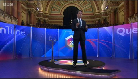 Ed Miliband of the Labour Party. Screen capture from BBC coverage.