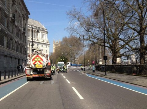Traffic on Millbank brought to a halt as emergency services deal with death of 55 year old woman cyclist. Image permission of @GorillaFaceLtd