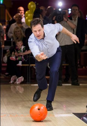 Nick Clegg trying his hand at bowling in Colchester. Image: @Nick_Clegg