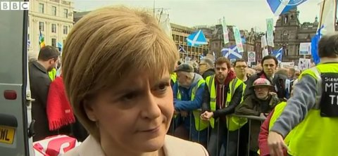 Nicola Sturgeon 100% categorically denies Telegraph claim at SNP 'Scrap Trident' rally. Image: BBC