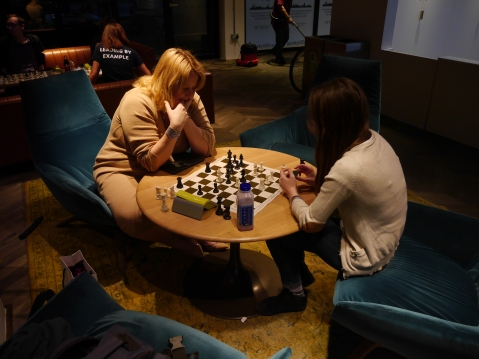 Amanda Ross (seated left) of the Casual Chess Club. Image: Tom Glasser