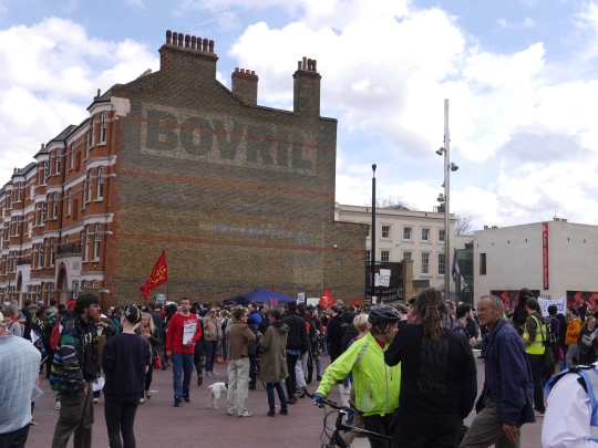 Protestors gather in Windrush Square. Image: Tom Glasser