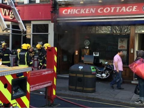 Paddington takeaway fire in Praed Street. Image: @LondonFire
