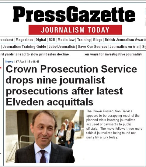 UK's online magazine for journalists reports Old Bailey acquittals and no further actions by CPS against prosecuted journalists. Image: Press Gazette