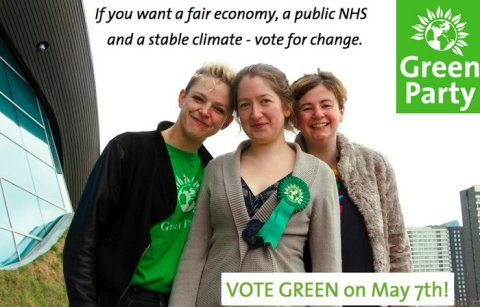 Rachel Collinson (centre) campaigning against housing injustice in Newham. Image: @TheGreenParty